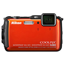 "Buy Nikon Coolpix AW120 Waterproof Camera, HD 1080p, 16MP, 5x Optical Zoom, GPS, Altimeter, Compass, 3"" OLED Screen Online at johnlewis.com"