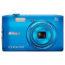 "Buy Nikon Coolpix S3600 Digital Camera, HD 720p, 20.1MP, 8x Optical Zoom, 2.7"" LCD Screen, Blue with Memory Card Online at johnlewis.com"