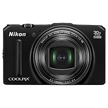 "Buy Nikon Coolpix S9700 Digital Camera, HD 1080p, 16MP, 30x Optical Zoom, GPS, Wi-Fi, 3"" OLED Screen, Black with Memory Card Online at johnlewis.com"
