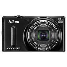 "Buy Nikon Coolpix S9600 Digital Camera, HD 1080p, 16MP, 22x Optical Zoom, 3"" Screen, Black with Memory Card Online at johnlewis.com"