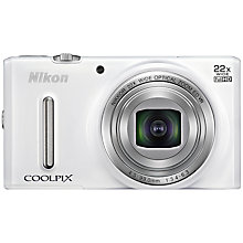 "Buy Nikon Coolpix S9600 Digital Camera, HD 1080p, 16MP, 22x Optical Zoom, 3"" Screen, White with Memory Card Online at johnlewis.com"