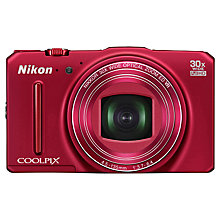 "Buy Nikon Coolpix S9700 Digital Camera, HD 1080p, 16MP, 30x Optical Zoom, GPS, Wi-Fi, 3"" OLED Screen, Red with Memory Card Online at johnlewis.com"