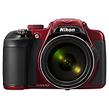 "Buy Nikon Coolpix P600 Bridge Camera, HD 1080p, 16.1MP, 60x Optical Zoom, Wi-Fi, 3"" LCD Screen, Red with Memory Card Online at johnlewis.com"