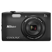 "Buy Nikon Coolpix S3600 Digital Camera, HD 720p, 20.1MP, 8x Optical Zoom, 2.7"" LCD Screen, Black with Memory Card Online at johnlewis.com"