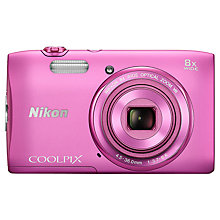 "Buy Nikon Coolpix S3600 Digital Camera, HD 720p, 20.1MP, 8x Optical Zoom, 2.7"" LCD Screen, Pink with Memory Card Online at johnlewis.com"