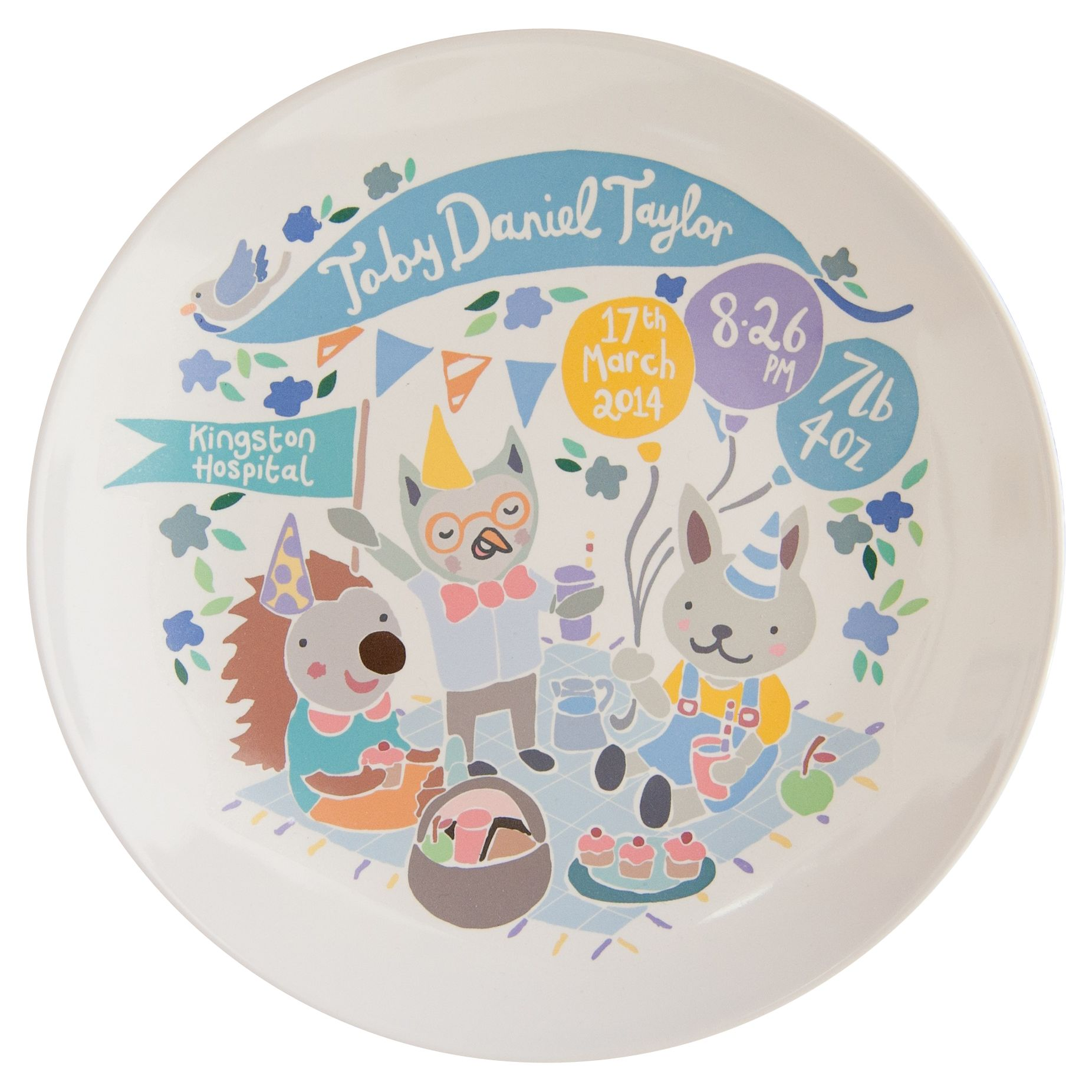 Ethel and Co Ethel and Co Personalised Woodland Picnic Decorative Plate, Blue