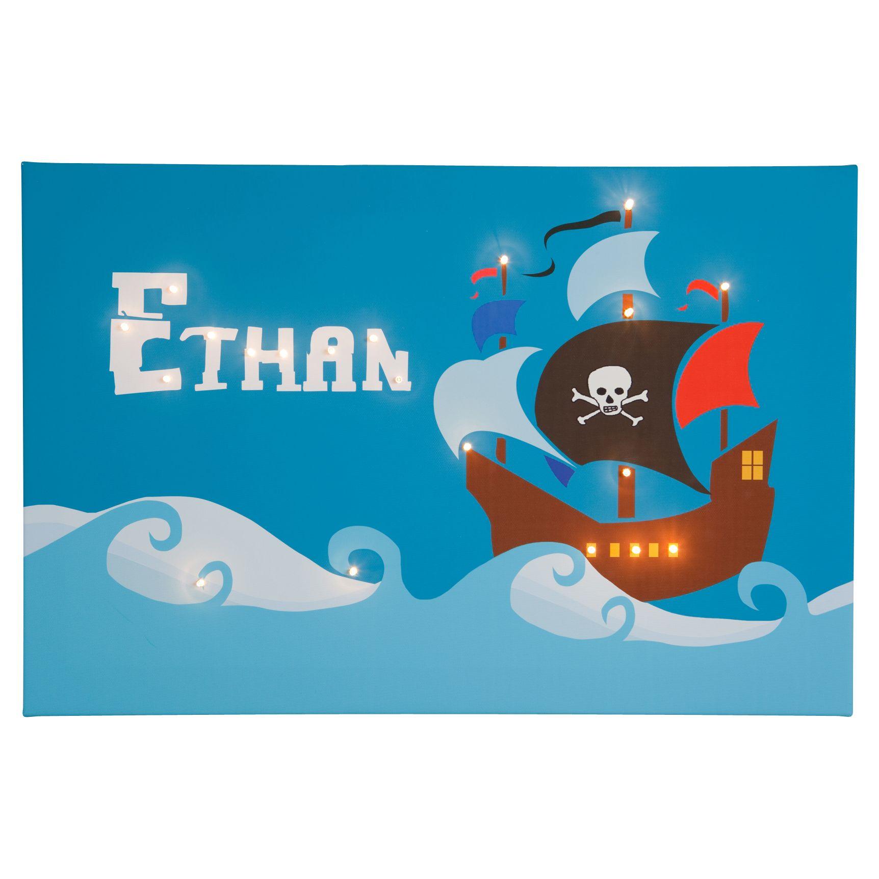 Illuminated Canvas Illuminated Canvas Personalised Pirate Ship LED Canvas, 40 x 60cm, Blue