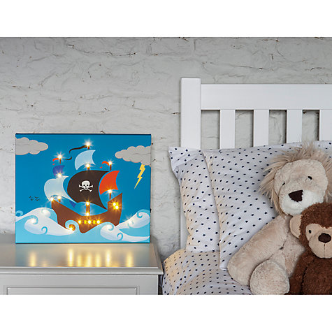 Buy Illuminated Canvas Personalised Pirate Ship LED Canvas, 40 x 60cm, Blue Online at johnlewis.com