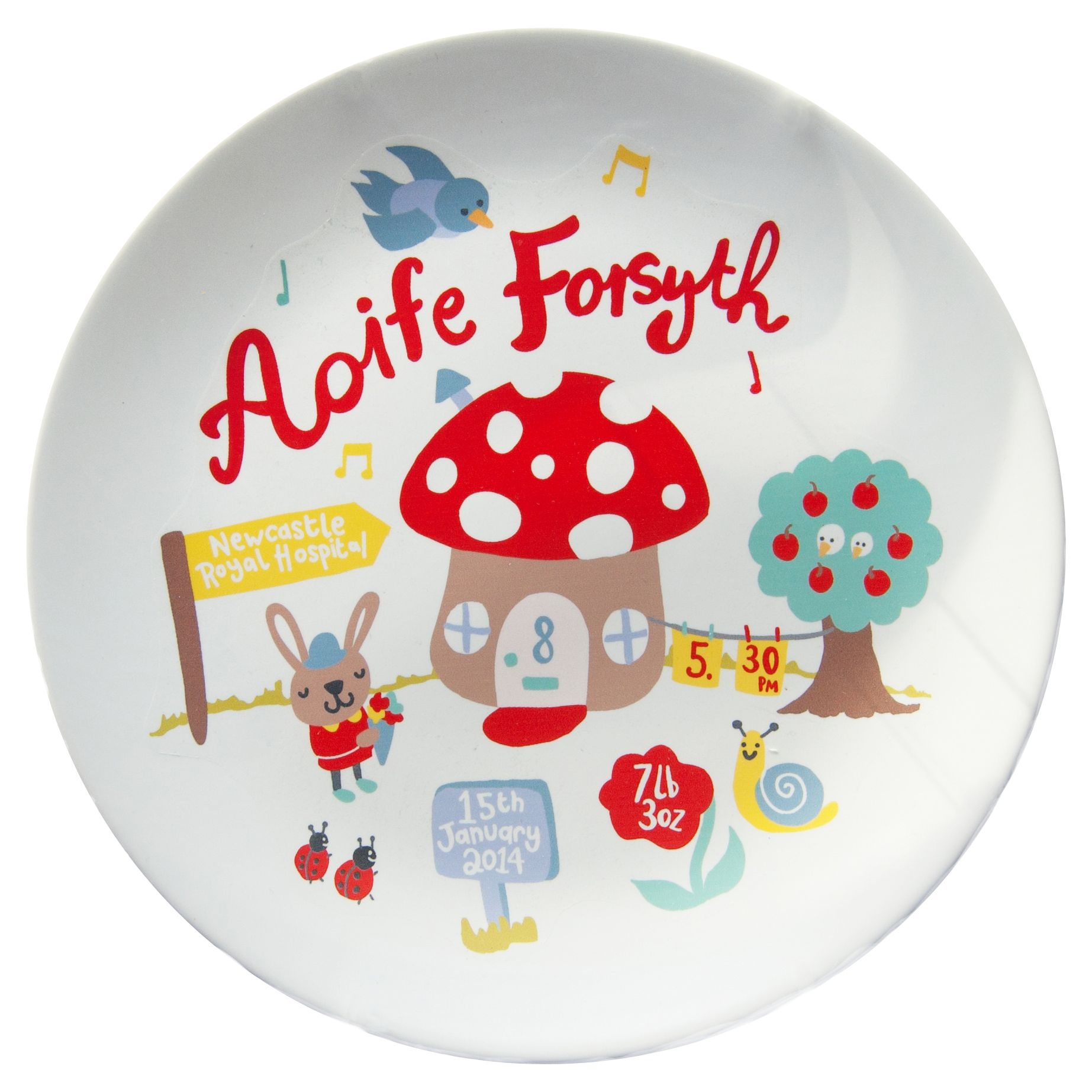 Ethel and Co Ethel and Co Personalised Toadstool Plate