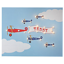 Buy Illuminated Canvas Personalised Bi-planes LED Canvas, 40 x 60cm, Baby Blue Online at johnlewis.com