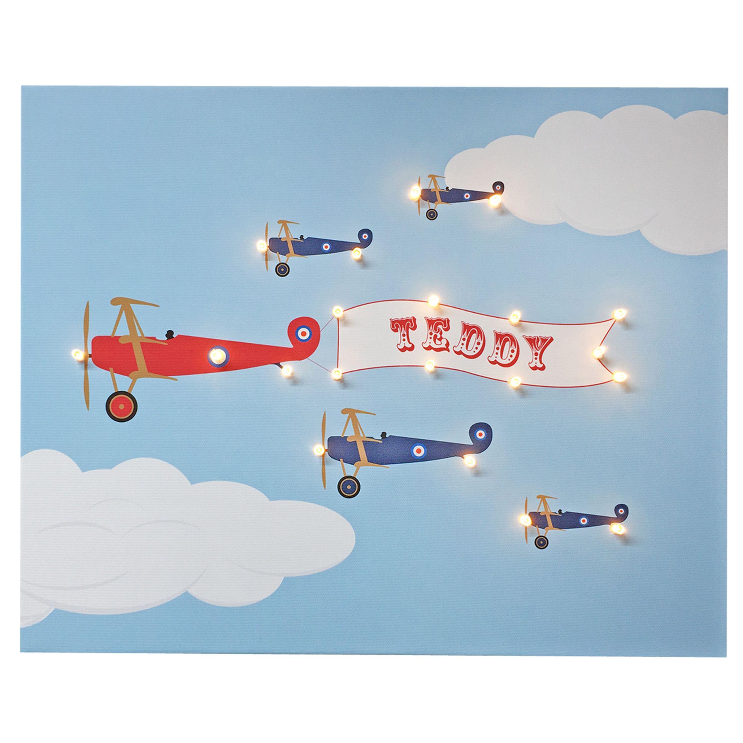 Illuminated Canvas Illuminated Canvas Personalised Bi-planes LED Canvas, 40 x 60cm, Baby Blue