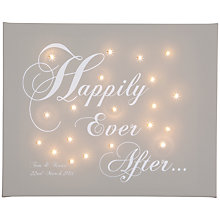 Buy Illuminated Canvas Personalised 'Happily Ever After' LED Canvas, 60 x 40cm, Taupe Online at johnlewis.com