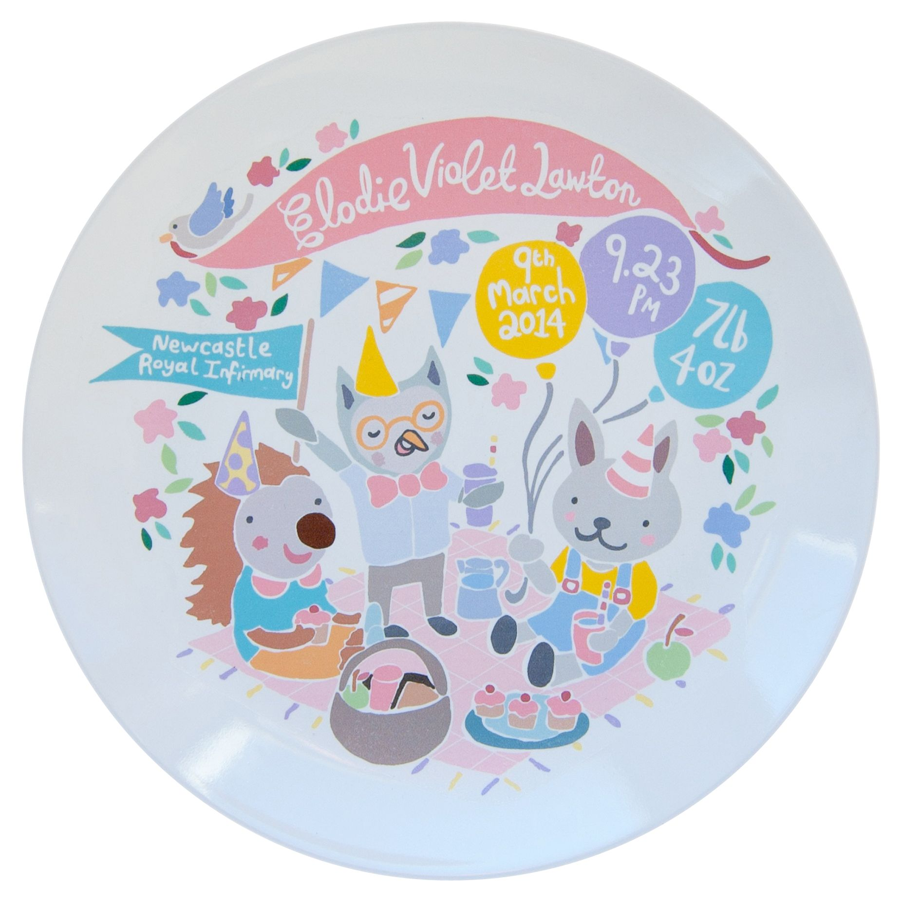 Ethel and Co Ethel and Co Personalised Woodland Picnic Decorative Plate, Pink