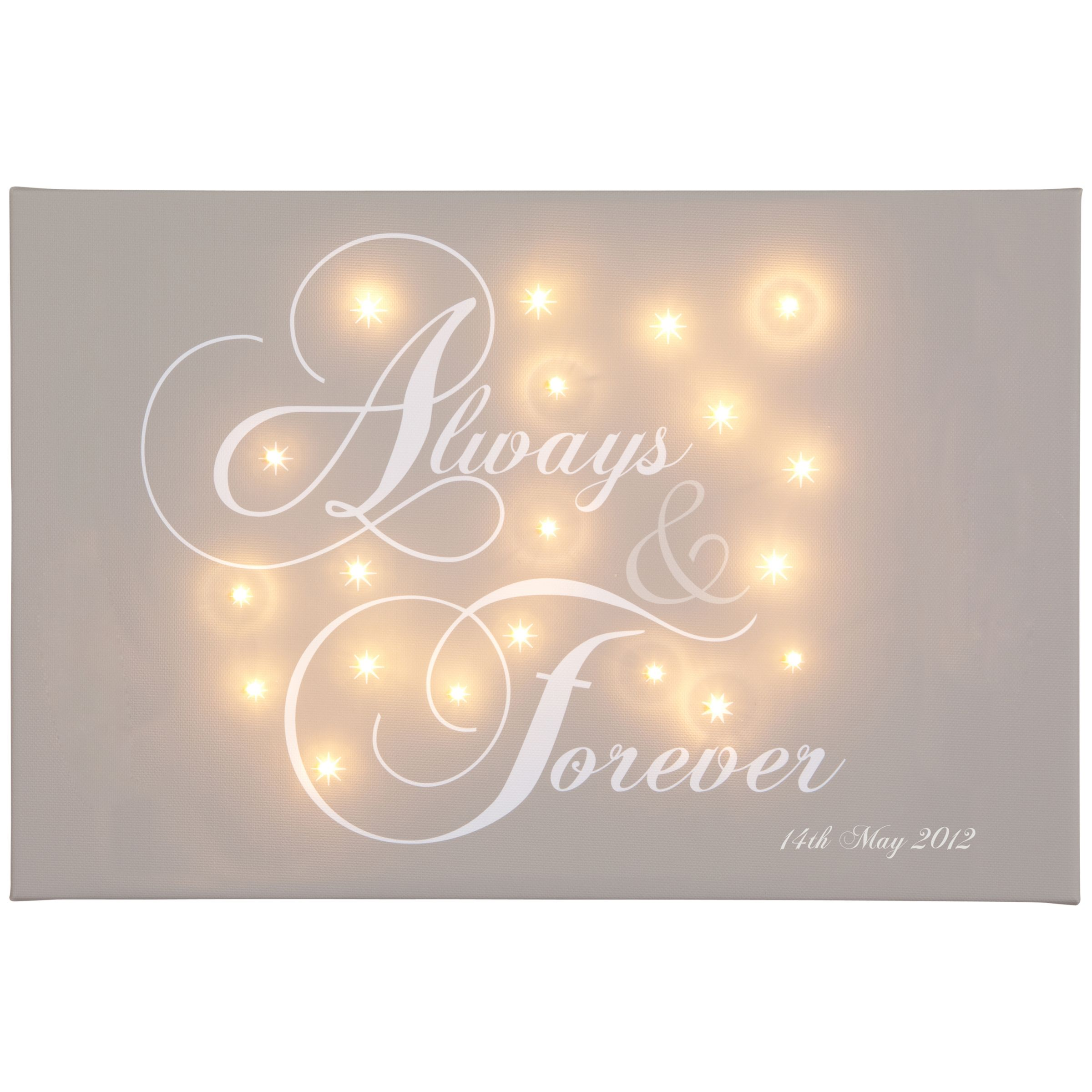 Illuminated Canvas Illuminated Canvas Personalised 'Always & Forever' LED Canvas, 60 x 40cm, Taupe