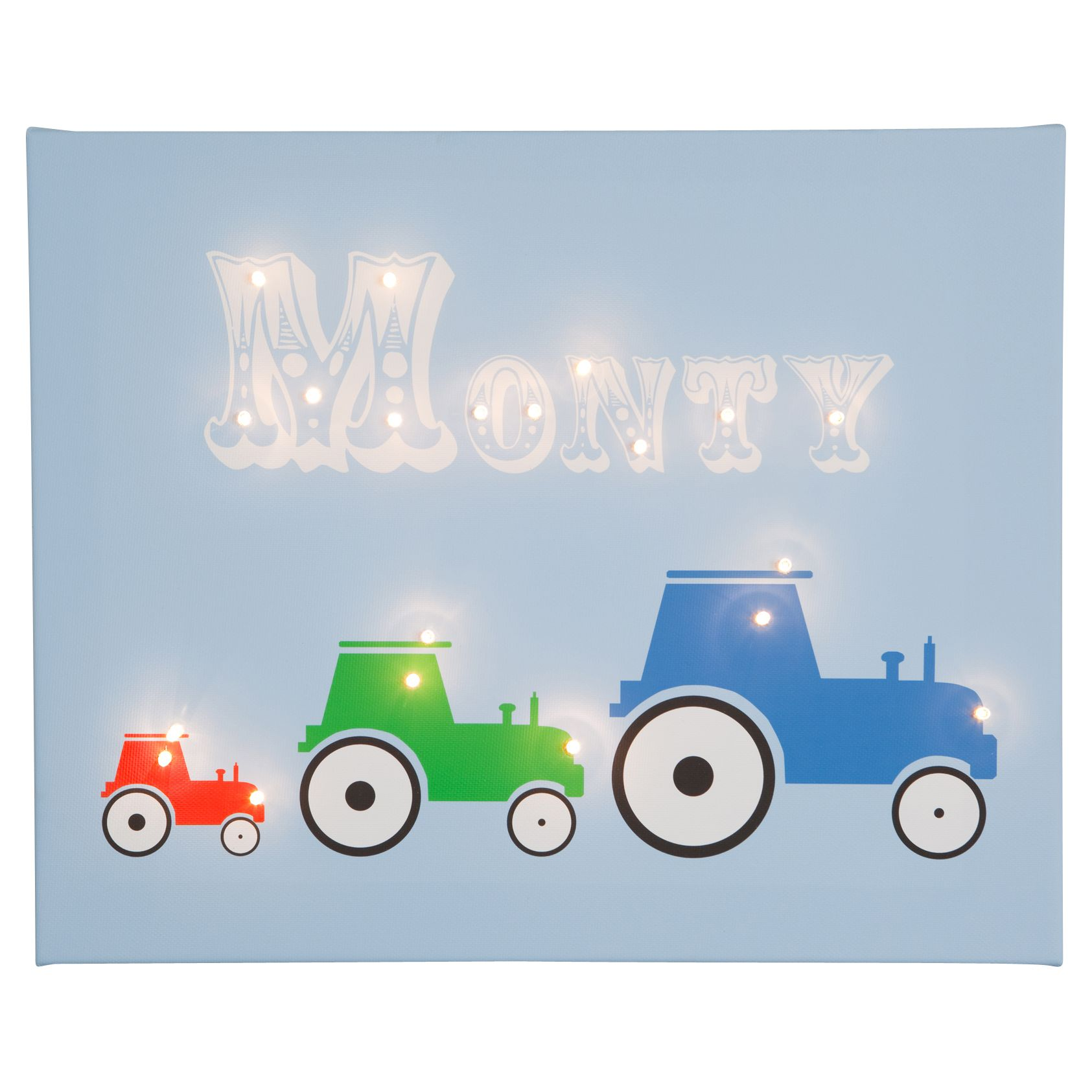 Illuminated Canvas Illuminated Canvas Personalised 3 Tractors LED Canvas, 40 x 60cm, Blue