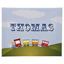 Buy Illuminated Canvas Personalised Train LED Canvas, 60 x 40cm, Blue Online at johnlewis.com