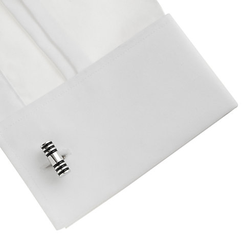 Buy John Lewis Black Enamel Cufflinks, Silver/Black Online at johnlewis.com