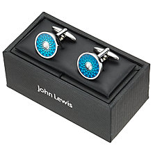 Buy John Lewis Enamel Disc Cufflinks, Blue/Silver Online at johnlewis.com