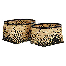 Buy John Lewis Bamboo Storage Boxes, Natural/ Black, Set of 2 Online at johnlewis.com