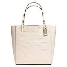 Buy Coach Madison Large Leather Tote Bag, White Online at johnlewis.com