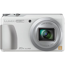 "Buy Panasonic Lumix DMC-TZ55 Digital Camera, HD 1080p, 16MP, 20x Optical Zoom, Wi-Fi, 3"" Screen, White with Memory Card Online at johnlewis.com"