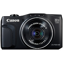 "Buy Canon PowerShot SX700 HS Digital Camera, HD 1080p, 16.1MP, 30x Optical Zoom, 3"" LCD Screen, Black with 16GB + 8GB Memory Card Online at johnlewis.com"