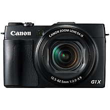 "Buy Canon PowerShot G1 X Mark II Digital Camera, HD 1080p, 12.8MP, 5x Optical Zoom, NFC, Wi-Fi, 3"" LCD Screen with Memory Card Online at johnlewis.com"