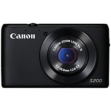 "Buy Canon PowerShot S200 Digital Camera, HD 720p, 10.1MP, 5x Optical Zoom, Wi-Fi, Manual Control Ring, OIS, 3"" Screen Online at johnlewis.com"