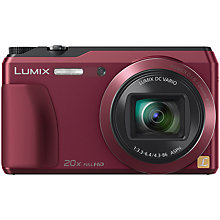 "Buy Panasonic Lumix DMC-TZ55 Digital Camera, HD 1080p, 16MP, 20x Optical Zoom, Wi-Fi, 3"" Screen, Red with Memory Card Online at johnlewis.com"