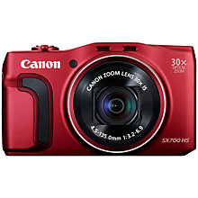 "Buy Canon PowerShot SX700 HS Digital Camera, HD 1080p, 16.1MP, 30x Optical Zoom, 3"" LCD Screen, Red with Memory Card Online at johnlewis.com"