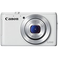 "Buy Canon PowerShot S200 Digital Camera, HD 720p, 10.1MP, 5x Optical Zoom, Wi-Fi, Manual Control Ring, OIS, 3"" Screen, White with Memory Card Online at johnlewis.com"