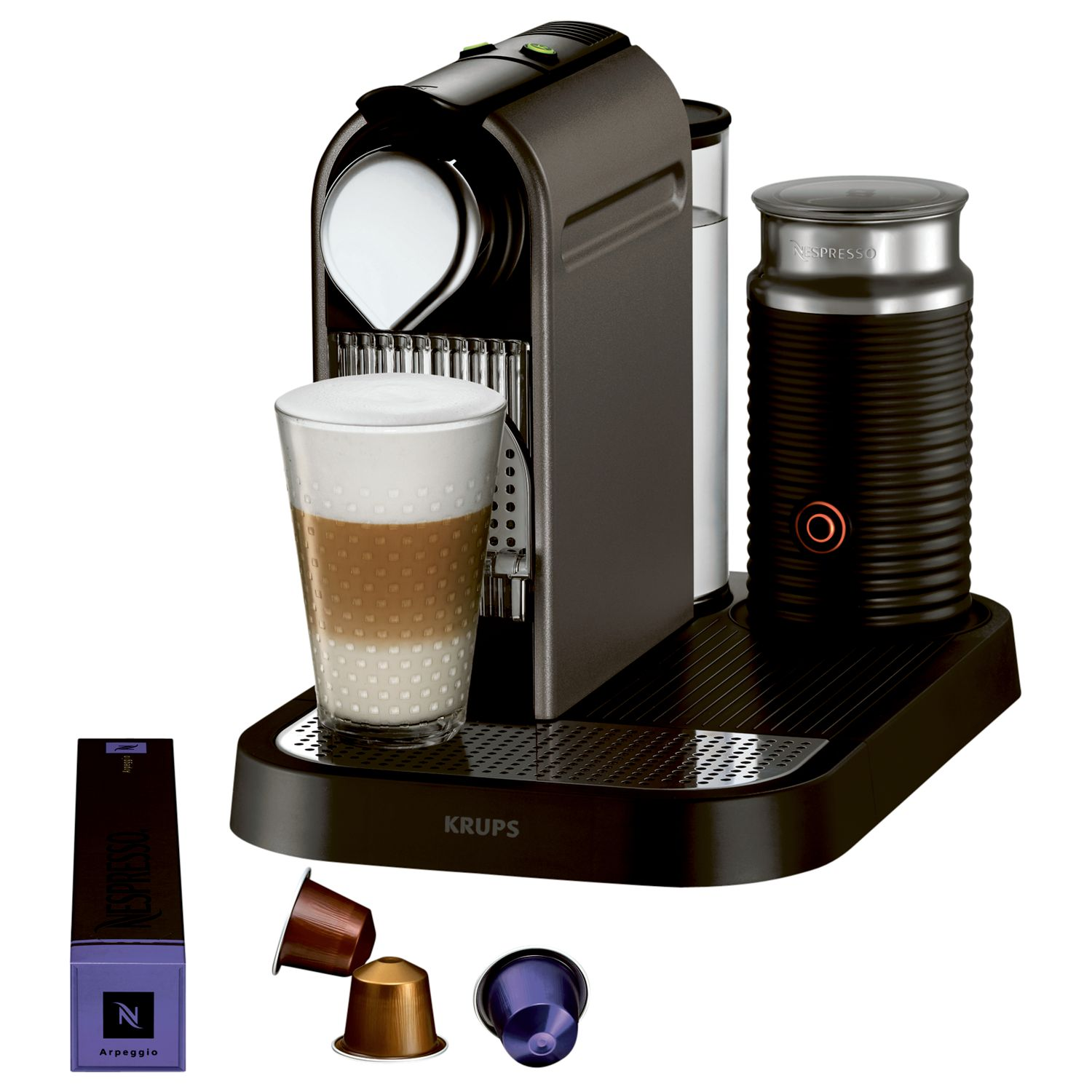 Krups Coffee Maker And Frother : Krups Nespresso CitiZ Coffee Machine Titanium Titanium