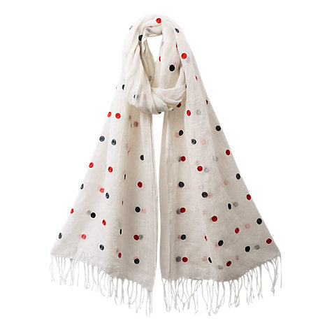 Buy East Spot Print Scarf, White Blush Online at johnlewis.com