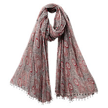 Buy East Anokhi Printed Scarf, Rouge Online at johnlewis.com