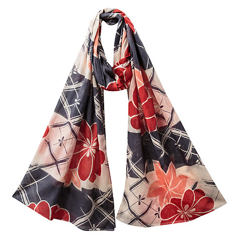 Buy East Nobu Print Floral Scarf, Red Online at johnlewis.com