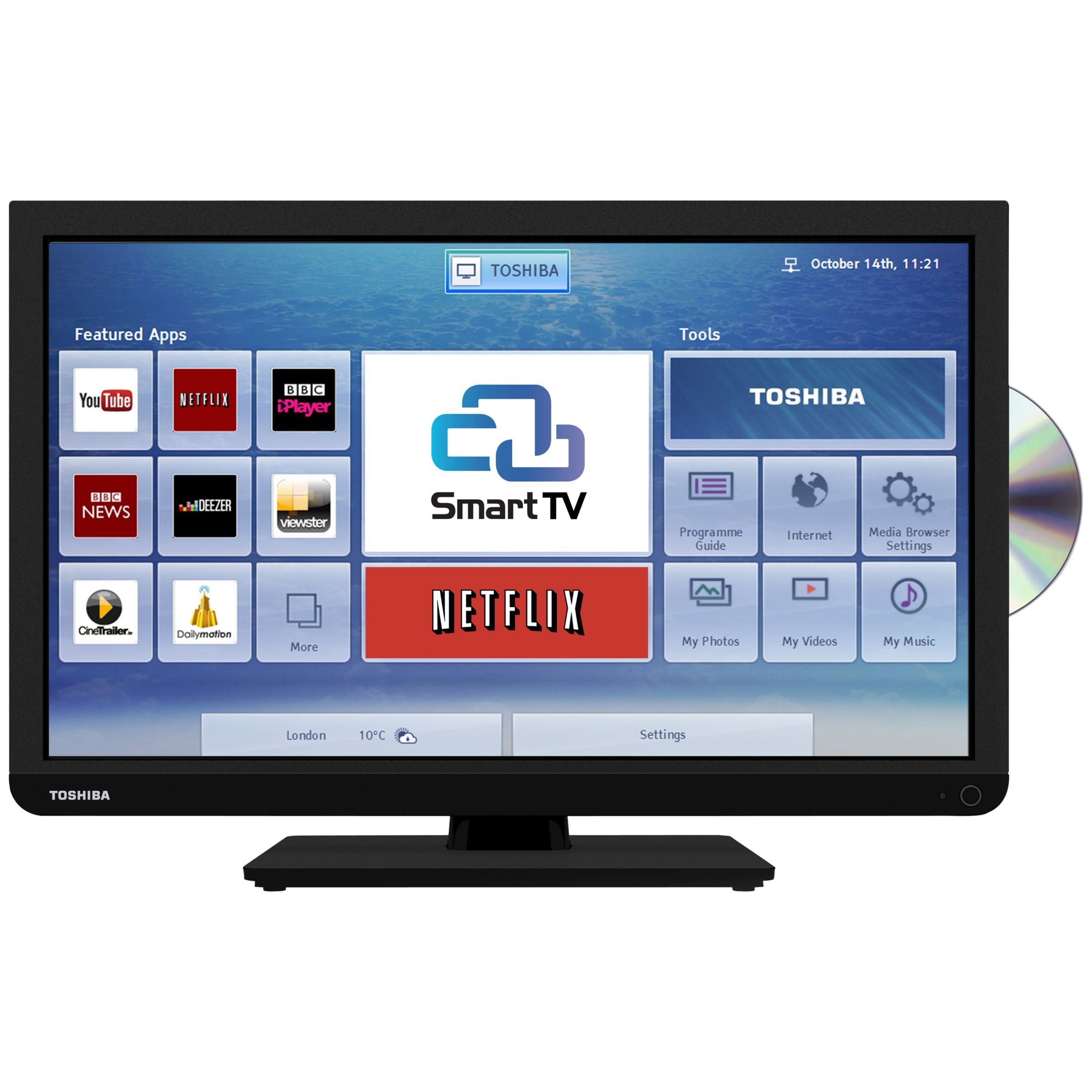 Toshiba 24D343 LED HD Ready Smart TV/DVD Combi, Wi-Fi, 24in with Freeview, Black