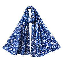 Buy East Noah Print Scarf, Azure Online at johnlewis.com