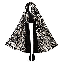 Buy East Block Print Border Scarf, Black Online at johnlewis.com