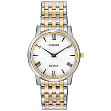 Buy Citizen AR1128-58A Unisex Eco-Drive Two Tone Bracelet Strap Watch, Silver / Gold Online at johnlewis.com