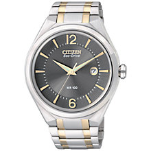 Buy Citizen AW1324-59H Men's Two-Tone Stainless Steel Bracelet Strap Watch and Cufflinks Set, Silver/Gold Online at johnlewis.com