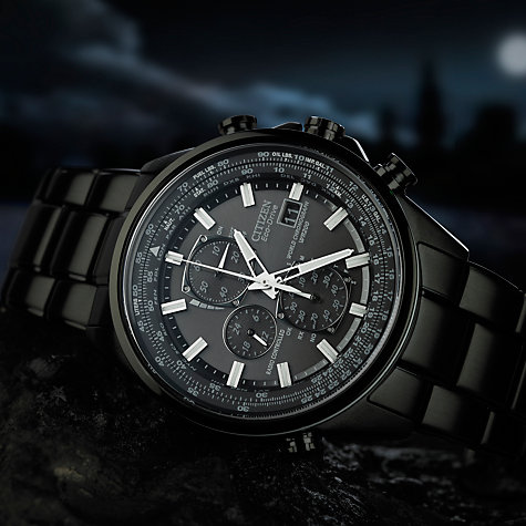 Buy Citizen AT8025-51E Men's World Chronograph A-T Eco-Drive Watch, Black Online at johnlewis.com