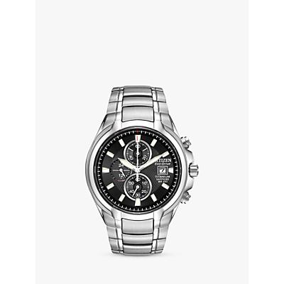 Citizen CA026052E Mens EcoDrive Titanium Chronograph Bracelet Strap Watch SilverBlack