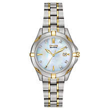 Buy Citizen 1934-59D Women's Silhouette Diamond Mother of Pearl Watch, Silver / Gold Online at johnlewis.com