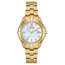 Buy Citizen EW1932-54D Women's Silhouette Diamond Mother of Pearl Watch, Gold Online at johnlewis.com