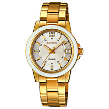 Buy Casio SHE-4512G-7AUER Women's Sheen Crystal Watch, Gold Online at johnlewis.com