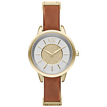 Buy Armani Exchange Women's Round Gold Dial Leather Strap Watch Online at johnlewis.com