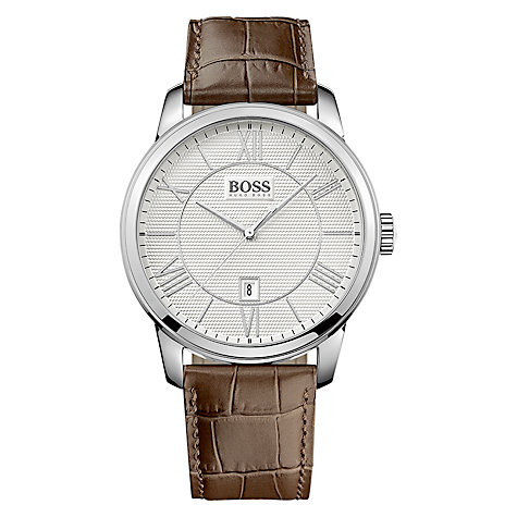 Buy BOSS 21512973 Men's Textured Dial Leather Strap Watch, Brown Online at johnlewis.com