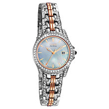Buy Citizen EW1226-59D Women's Eco-Drive Mother of Pearl Swarovski Crystal Watch, Silver / Gold Online at johnlewis.com