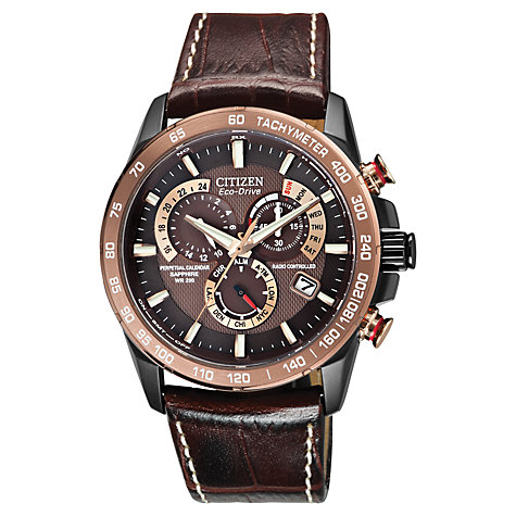 Buy Citizen AT4006-06X Men's Perpetual Chrono A-T Eco-Drive Leather Strap Watch, Brown Online at johnlewis.com