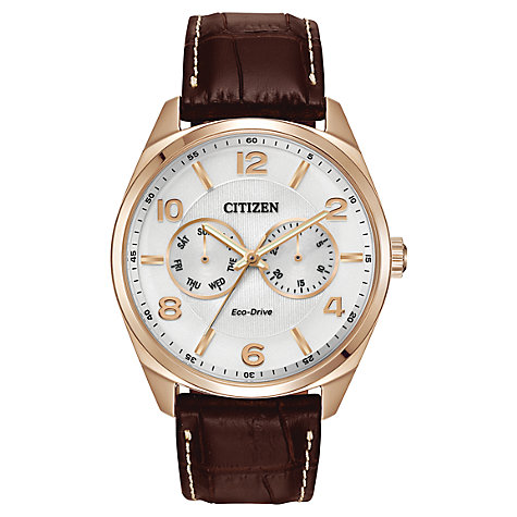 Buy Citizen AO9023-01A Men's Eco-Drive Leather Strap Watch, Brown Online at johnlewis.com